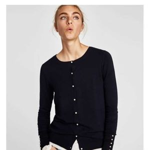 Zara Large Knit Cardigan Faux Pearls/buttons